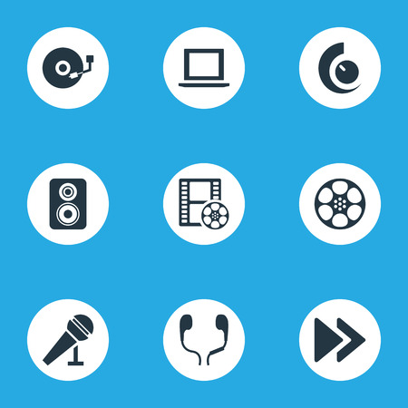 Vector Illustration Set Of Simple  Icons. Elements Tape, Earmuff, Mike And Other Synonyms Player, Amplifier And Regulator.