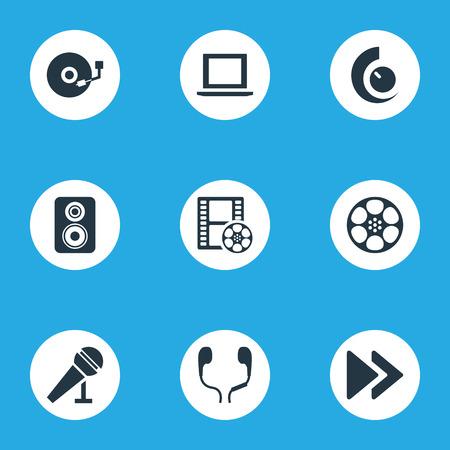 Vector illustratie Set van eenvoudige pictogrammen. Elements Tape, Earmuff, Mike and Other Synoniemen Player, Amplifier And Regulator. Stockfoto