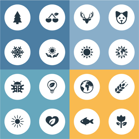 Vector Illustration Set Of Simple Ecology Icons. Elements Fir Tree, Tulips, Moose And Other Synonyms Winter, Grain And Tulips.