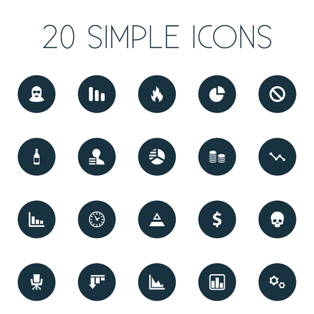 Vector Illustration Set Of Simple Impasse Icons. Elements Wealth, Cv, Corporation And Other Synonyms Down, Beverage And Business.