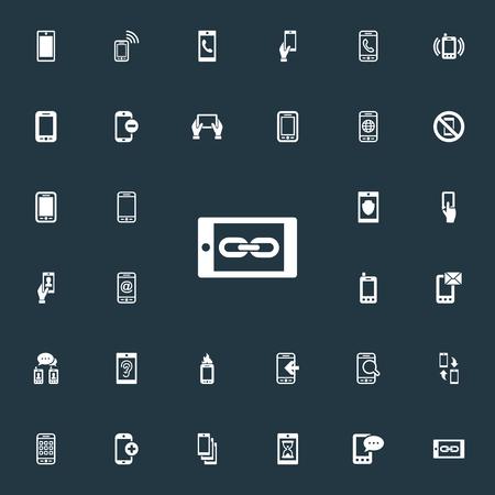 Elements Worldwide Net, Inkomend, Hoorzitting en andere synoniemen Inkomend, Mail en toepassingen. Vector illustratie Set van eenvoudige Smartphone-pictogrammen.
