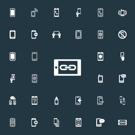 Elements Worldwide Net, Inbounding, Hearing And Other Synonyms Incoming, Mail And Applications.  Vector Illustration Set Of Simple Smartphone Icons.