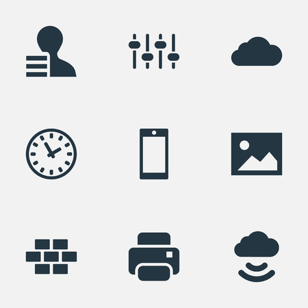 Elements Printer, Designer, Picture And Other Synonyms Bricks, Option And Print.  Vector Illustration Set Of Simple Web Icons.