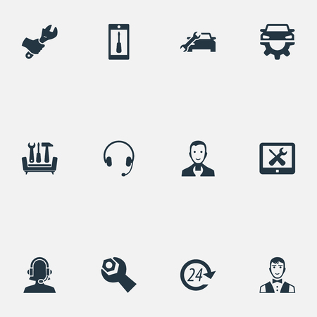Elements Car Workshop, Wrench, Earmuff And Other Synonyms Operator, 24 And Uniform.  Vector Illustration Set Of Simple Information Icons.