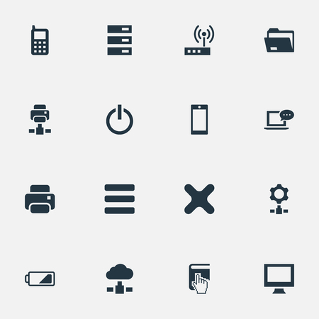 Vector Illustration Set Of Simple Device Icons. Elements Data Center, Cross, Monitor And Other Synonyms Menu, Delete And Book. Иллюстрация