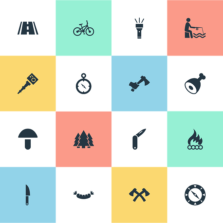 Vector Illustration Set Of Simple  Icons. Elements Bonfire, Selfie Stick, Flashlight And Other Synonyms Weapon, Forest And Frankfurter.