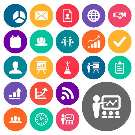 単純な解決策のアイコンのベクトル イラスト セット。要素の対応、デモンストレーション、トレーニング、他類義語の画面では、コーチとの Wi。