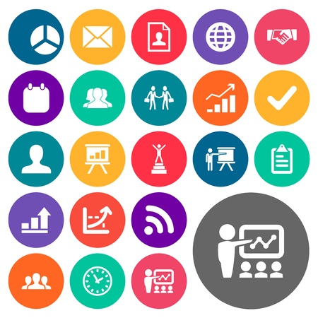 Vector Illustration Set Of Simple Solution Icons. Elements Correspondence, Demonstration, Training And Other Synonyms Screen, Coach And Wi.