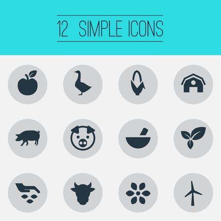 Elementen: fruit, turbine, tuinieren en andere synoniemen: groente, varkens en maïs. Vector illustratie Set van eenvoudige pictogrammen van de natuur.