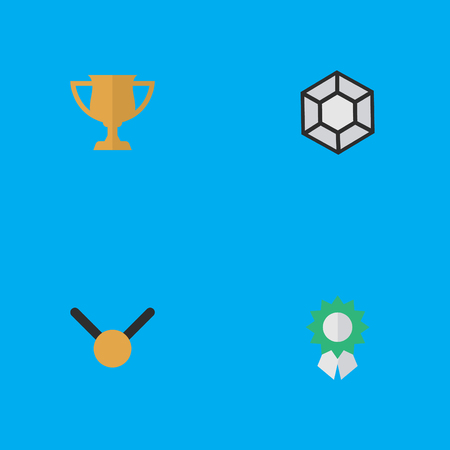 Vector Illustration Set Of Simple Trophy Icons. Elements Brilliant, Medal, Award And Other Synonyms Diamond, Expensive And Precious.