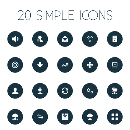 Vector Illustration Set Of Simple Apps Icons. Elements Speaker, Printer, Goal And Other Synonyms Cogwheel, Variety And Laptop.