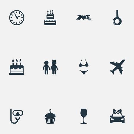 シンプルな祝祭アイコンのベクター イラスト セット。要素の飛行機、ペストリー、愛の保護、他の同義語フライ、デザートとビキニ。