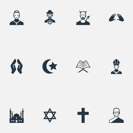 Ilustración vectorial Conjunto de iconos de religión simple. Elementos musulmanes, crucifijo, mahometismo y otros sinónimos Pontífice, capilla y cardenal. Foto de archivo - 87382539