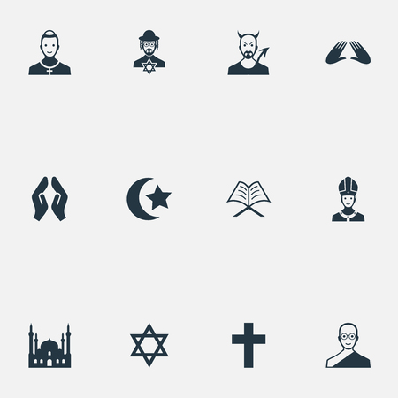Vector Illustration Set Of Simple Religion Icons. Elements Muslim, Crucifix, Mohammedanism And Other Synonyms Pontiff, Chapel And Cardinal. Stock Vector - 87382539