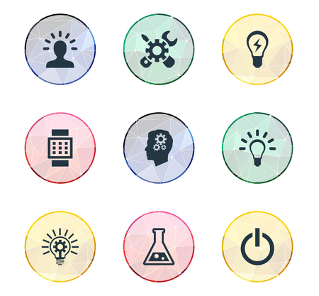 Vector Illustration Set Of Simple Solution Icons. Elements Idea, Smart Watch, Bulb And Other Synonyms Button, Turn And Repair.