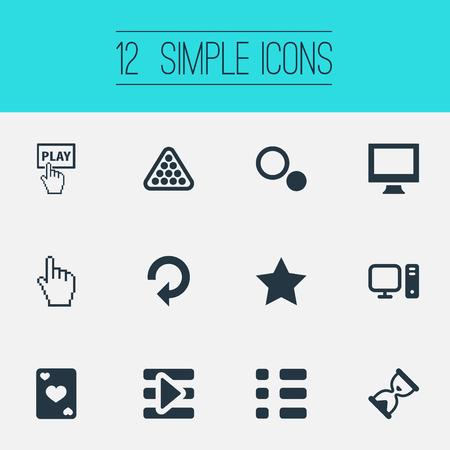 Elementen Zandloper, aas, bureaublad en andere synoniemen Herladen, weergeven en selecteren. Vector illustratie Set van eenvoudige spel iconen.