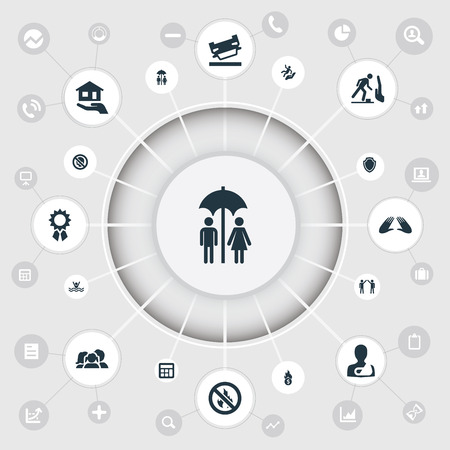 A Vector Illustration Set Of Simple Warrant Icons. Elements Accounting, Danger, Broken Arm And Other Synonyms Hand, Wreck And Man.