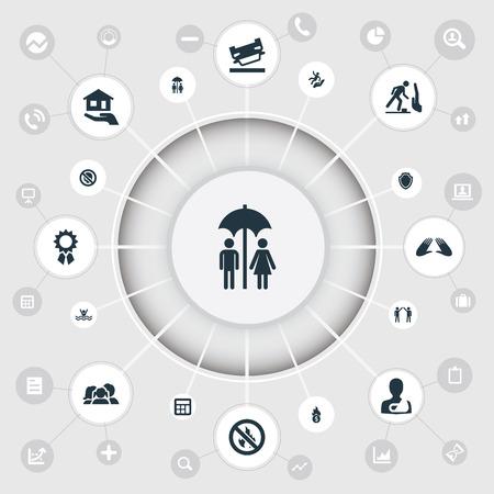Une illustration vectorielle ensemble d'icônes simples de mandat. Éléments de comptabilité, Danger, bras cassé et autres synonymes Main, épave et homme. Banque d'images - 87382544