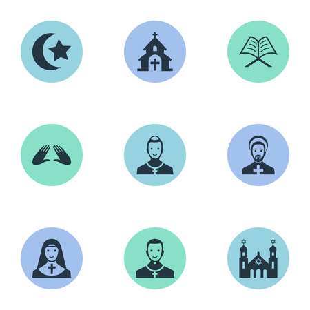 Vector Illustration Set Of Simple Faith Icons. Elements Muslim, Chaplain, Clergyman And Other Synonyms Reverend, Islam And Christian. Illustration