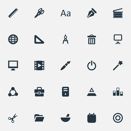 Vector Illustration Set Of Simple Icon Icons. Elements Worldwide, Board, Cut And Other Synonyms Presentation, Event And Colums.