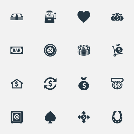 Vector Illustration Set Of Simple Gambling Icons. Elements Moneybag, Bank, Sign And Other Synonyms Sack, Shoe And House.