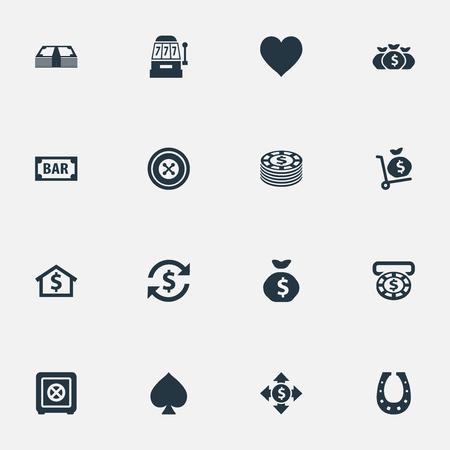 Vector illustratie Set van eenvoudige gokken pictogrammen. Elementen Moneybag, bank, teken en andere synoniemen Zak, schoen en huis. Stockfoto