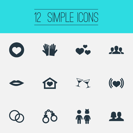 Vector Illustration Set Of Simple  Icons. Elements Shackle, Girl, Heartbeat And Other Synonyms Celebration, Group And Beloveds.
