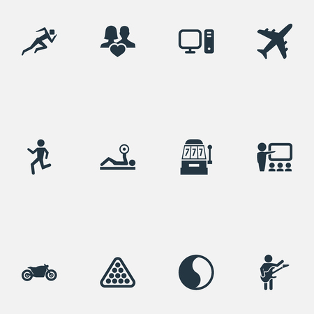 Vector Illustration Set Of Simple Fashion Icons. Elements Motorcycle, Education, Jogging And Other Synonyms Yin-Yang, Aircraft And Athlete.