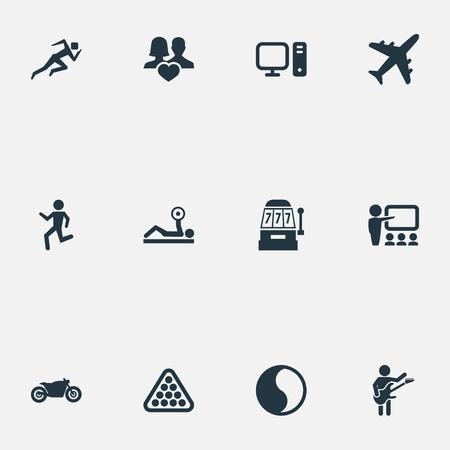 Vector illustratie Set van eenvoudige mode-iconen. Elementen motorfiets, onderwijs, joggen en andere synoniemen Yin-Yang, vliegtuigen en atleet. Stockfoto