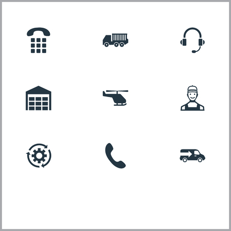 Vectorillustratiereeks Eenvoudige Logistiekpictogrammen. Elementen Helikopter-, opslag-, bestel- en andere synoniemennummers, Periode en tandrad.