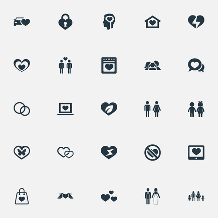 Vector illustratie Set van eenvoudige gevoelens pictogrammen. Elements Household, Homosexual, Smartphone And Other Synoniemen Couple, Prohibited And Girl.