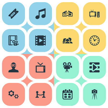 Vector illustratie Set van eenvoudige film iconen. Elements Family, Rope Barrier, Play And Other Synoniemen Retro, Family And Television. Stockfoto