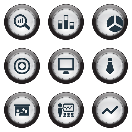 Vector Illustration Set Of Simple Training Icons. Elements Training, Presentation, Reload And Other Synonyms Report, Monitor And Seminar. Stock Photo