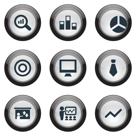 Vector illustratie Set van eenvoudige training iconen. Elementen training, presentatie, reload en andere synoniemenrapport, -monitor en -seminar.