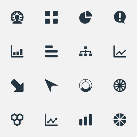 Vector illustratie Set van eenvoudige pictogrammen. Elementen aanwijzer, patroon, groei en andere synoniemen Aanwijzer, pijl en document.