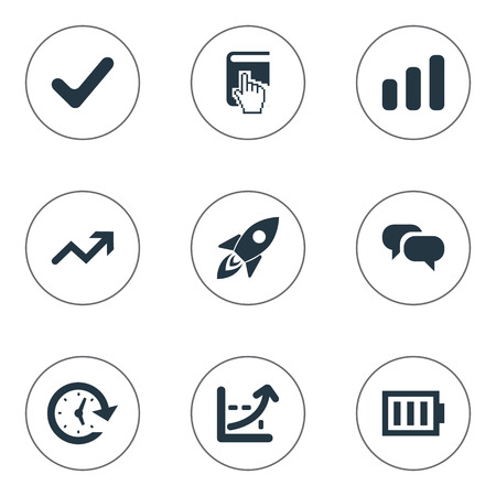Vector Illustration Set Of Simple Teamwork Icons. Elements Timer, Spaceship, Surge And Other Synonyms Alkaline, Spaceship And Chatting.