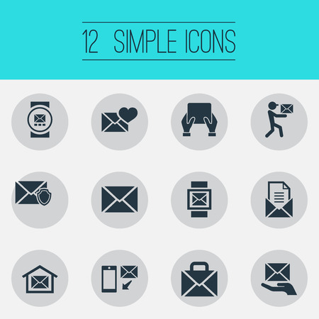 Vector Illustration Set Of Simple Message Icons. Elements Smartphone, Postal Box, Pages And Other Synonyms Box, Valentine And Smartphone.