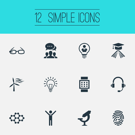 Vector Illustration Set Of Simple Invention Icons. Elements Power, Connection, Lamp And Other Synonyms Hi-Tech, Device And Glasses.