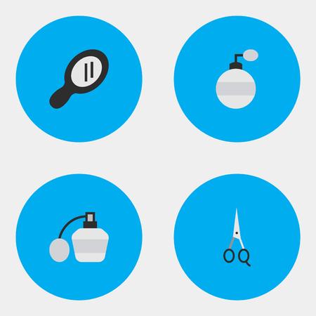 単純な床屋アイコンのベクター イラスト セット。ミラー、香水、ガラス要素の香水、香り、はさみ、他の同義語。  イラスト・ベクター素材
