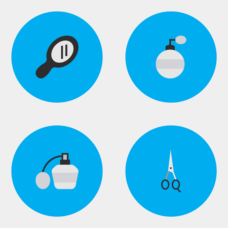 Vector Illustration Set Of Simple Barber Icons. Elements Perfume, Fragrance, Scissors And Other Synonyms Mirror, Perfume And Glass.