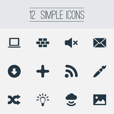 Vector Illustration Set Of Simple UI Icons. Elements Wireless Connection, Laptop, Picture And Other Synonyms Innovation, Connection And Cloud.