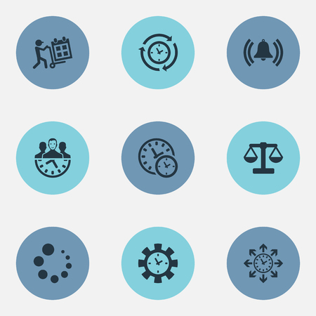 Vector Illustration Set Of Simple Time Icons. Elements Loading, Sync, Administrator And Other Synonyms Balance, Loading And Synchronizing.