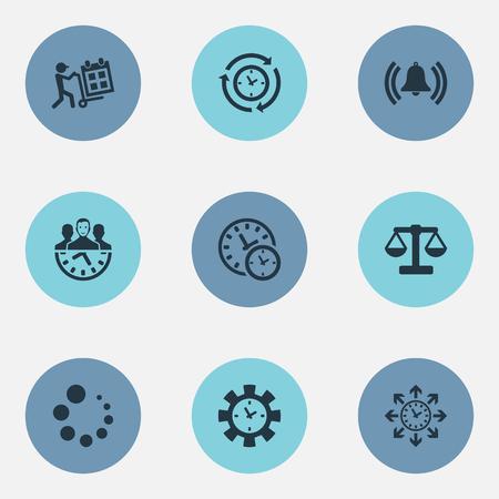 Vector illustratie Set van eenvoudige tijd pictogrammen. Elementen laden, synchroniseren, beheerder en andere synoniemenbalans, laden en synchroniseren.