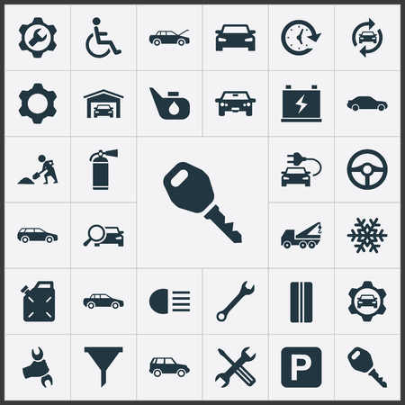 Vector Illustration Set Of Simple Vehicle Icons. Elements Servicing, Handicapped, Electro Car Synonyms Stand, Garage And Builder.