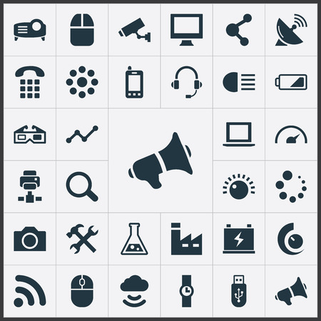 Vector Illustration Set Of Simple Technology Icons. Elements Cloud Signal, Charge, Control Device And Other Synonyms Diagram, Notebook And Buffering.