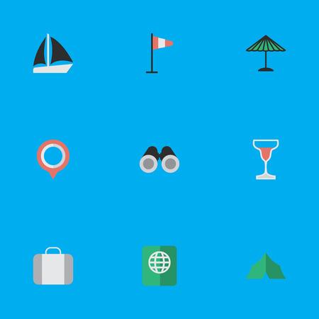 シンプルなリラックスアイコンのベクトルイラストセット。要素バッグ、キャンプ、マークやその他の同義語の荷物、ビジョンと傘。  イラスト・ベクター素材