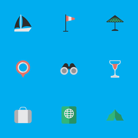 Vector Illustration Set Of Simple Relax Icons. Elements Bag, Camping, Mark And Other Synonyms Luggage, Vision And Umbrella.
