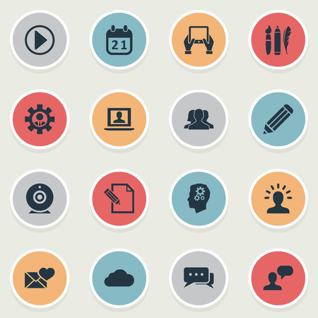 Vector Illustration Set Of Simple Newspaper Icons. Elements Comment, Start, User And Other Synonyms Cloud, Camera And Pencil.