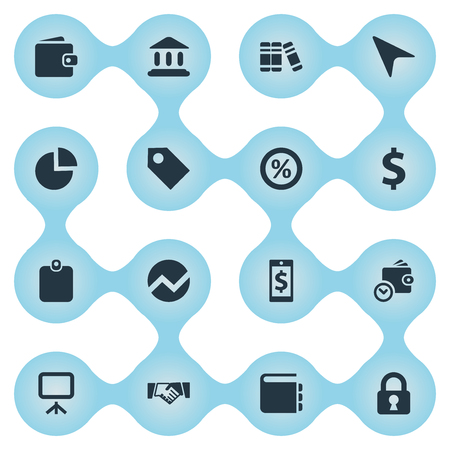 Vector Illustration Set Of Simple Financial Icons. Elements Statistic, Literature, Partnership And Other Synonyms Statistic, Graphic And Handshake. Illustration