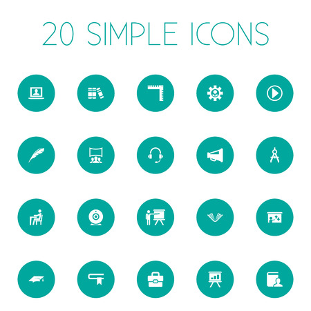 Vector Illustration Set Of Simple Conference Icons. Elements Encyclopedia, Presentation, Graduation Cap And Other Synonyms Book, Businessman And Profile. 向量圖像